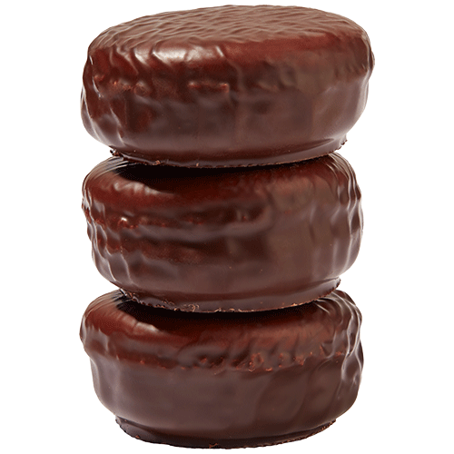 Dark chocolate coated chocolate macaron