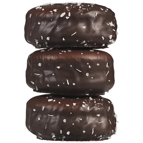 Dark chocolate coated coconut macaron